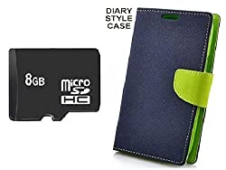 KTC_Plus 8GB SD Micro Memory card Card With Green Mercury Goospery Fancy Diary Wallet Flip Cover For Sony Xperia M2