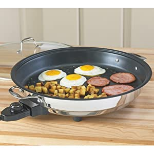 CucinaPro 1654 Stainless Steel Electric Skillet Non-Stick Interior