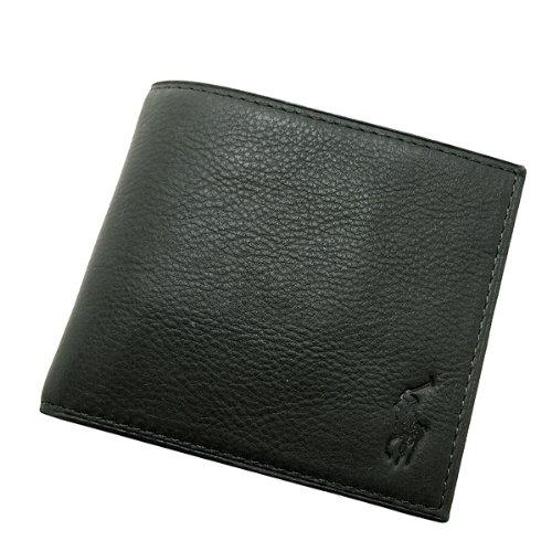 POLO RALPH LAUREN ラルフローレン 財布 ペブルレザー 小銭入れつき二つ折りウォレット(M) /グリーン[405166365-5RS]