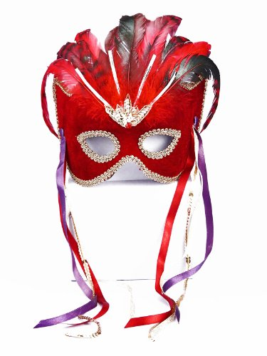 Forum Novelties Women's Karneval Style Female Half Mask with Feathers, Red/Gold, One Size - 1