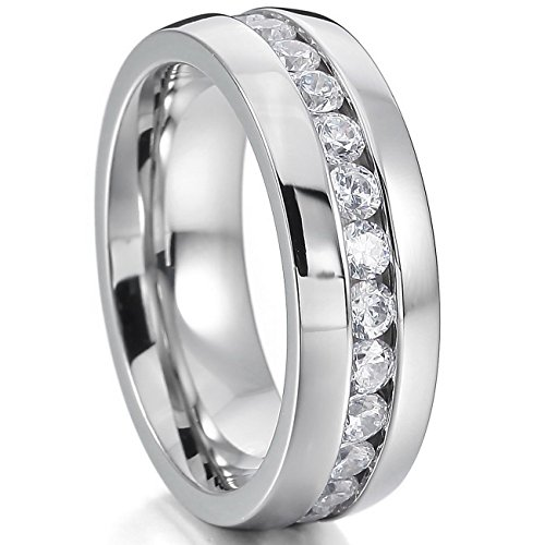 MOWOM Silver Wide 8mm Stainless Steel Eternity Rings Band CZ Wedding Size 11 (Men Stainless Steel Ring Size 11 compare prices)