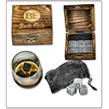 Deluxe Whisky Stones - Professional Quality Set of 6 Stones in a Beautiful Hand Made Box and Supple Velvet Bag - Never Water Your Drink Down Again!