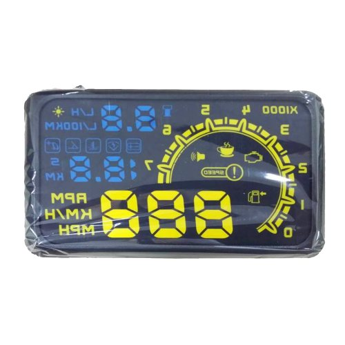 Woputuo Ash-4C New Design Multi Car Hud Vehicle-Mounted Head Up Display Obd Ii System Model Display Of Vehicle Speed, Engine Speed, Water Temperature, Driving Mileage, Fuel Consumption, Rest Tips, Engine Failure (Blue+Yellow)