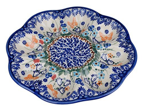 Classic Boleslawiec, Polish Pottery Handmade Ceramic Devilled Egg Platter 130-U-099 (Devilled Eggs Plate compare prices)