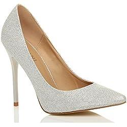 Donna tacco alto lavoro festa elegante scarpe décolleté a punta taglia 5 38