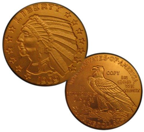 1909-O $5 Indian Head Half Eagle Gold Coin - Replica