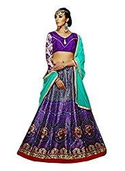 Suchi Fashion Digital Printed Purple Banglori Silk Semi-Stitched Lehenga Choli