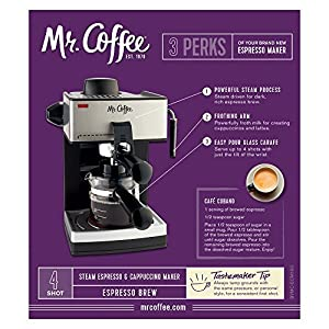 Mr. Coffee ECM160 4-Cup Steam Espresso Machine, Black by Mr. Coffee