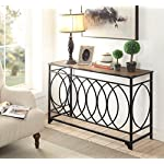 Vintage Brown Finish Black Metal Circle Design Console Sofa Table