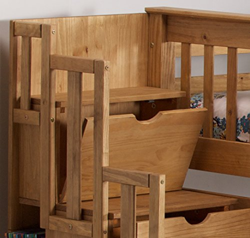 Mission staircase storage single bunk bed in waxed pine for Bunk beds with stairs uk