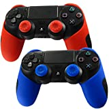 Pandaren Soft Silicone Thicker Half Skin Cover for PS4 Controller Set ( skin X 2 + Thumb Grip X 4)(Red, Blue)