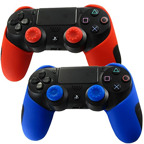 Pandaren Soft Silicone Thicker Half Skin Cover for PS4 Controller Set ( skin X 2 + Thumb Grip X 4)(Red, Blue) (Wii Cooling Stand compare prices)