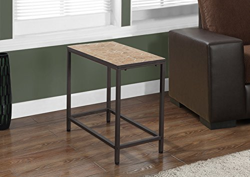 TERRACOTTA TILE TOP / HAMMERED BROWN ACCENT SIDE TABLE (SIZE: 24L X 12W X 22H)