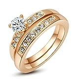Yoursfs 18k Or rose plaqué Solitaire en Diamant de simulation de Bague en forme de Deux-en-Un pour Femme ou Homme...
