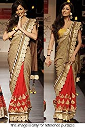kenil fabrics red georgette designer women's bollywood workwear saree with designer blouse