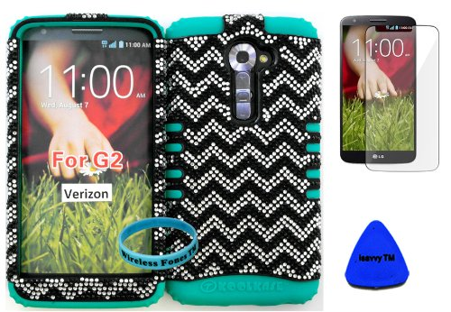 Wireless Fones Tm High Impact Hybrid Rocker Case For Lg G2 Vs980(Verizon Only) Hard Bling Black & Silver Chevron On Teal Silicone With Screen Protector, Isavvy Pry Tool & Wrist Band
