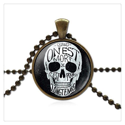Fatto a mano in vetro collana teschio bronzo Cordino Collana e pendente per le donne gioielli