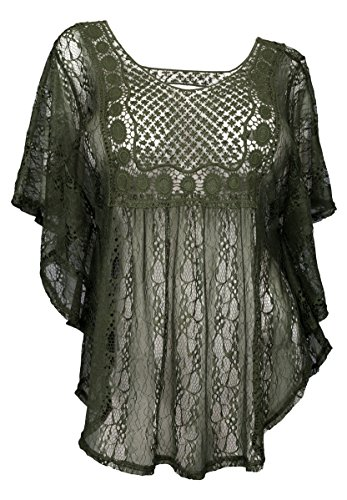 eVogues Plus Size Sheer Crochet Lace Poncho Top Dark Olive - 3X