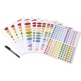 Color Coding Essential Oil Bottle Labels set, 8 sheet of 522 labels (Including 3 size Ovals, Round Circles, free thin marker)