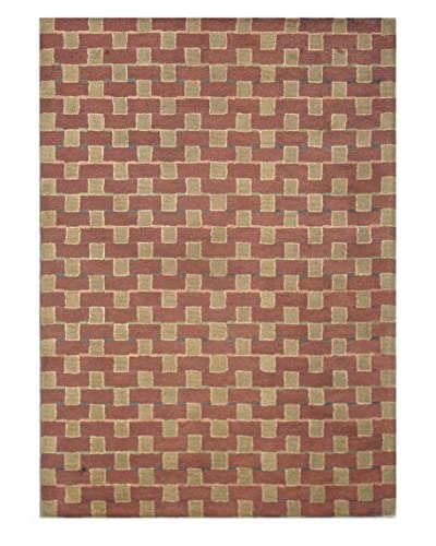 Square Rug, Terra Cotta/Multi, 5' x 8'