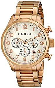 Nautica Men's N20117G BFD 101 CHRONO Analog Display Quartz Rose Gold Watch