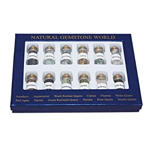 12 Bottles Of Natural Chip Gemstone In Box 9.5X7.00