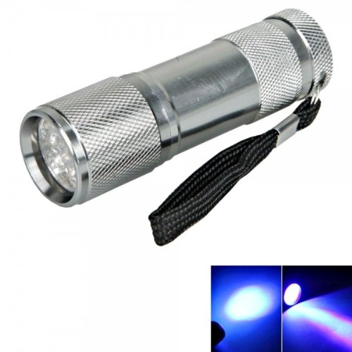New 9 Led 385 ~ 400Nm Purple Light Mini Flashlight Torch Silver