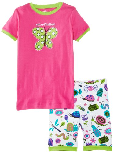 Hatley Little Girls' Short Pajama Sleep Set - Girly Bugs All A'Flutter, Pink, 4T back-1046548