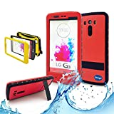 (Surprised) Lg G3 Waterproof Case (Gift for Screen Protect Film and Clean Cloth) Full-body Protective Case Waterproof Shockproof Dustproof Snowproof Case Cover 6.6 Ft Underwater Durable Full Sealed Protection Water Resistant Hard Shell Full-body Protective (Stand Feature) (3 Months Warranty) Case Cover for Lg G3 (Do Not Fit for Lg G3 Mini) (LG G3 XLJ red)