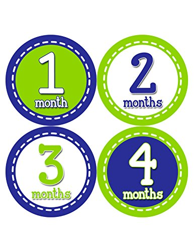 Months in Motion 328 Monthly Baby Stickers Baby Boy Month 1-12 Milestone Sticker