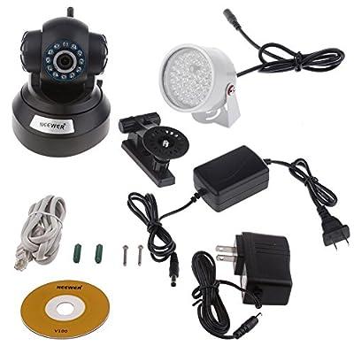 Neewer Surveillance Camera Kit Wireless V100 IR 11 LED 300K Night Vision Surveillance IP Camera Set + 48 LED Night Vision Illuminator Light + 12V/1A Charger Adpater (US Plug)