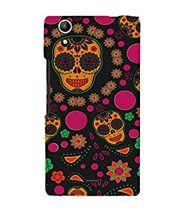 Colourful Skull Wallpaper 3D Hard Polycarbonate Designer Back Case Cover for Micromax Canvas Selfie 2 Q340