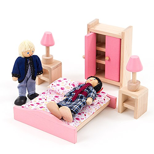 Mamakiddies Wooden Doll House 40 Plus Furniture and Dolls (Pink)