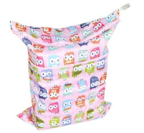 Baby Wet And Dry Cloth Diaper Bags, Pink Owl front-1063225