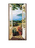 ArtopWeb Panel Decorativo Del Missier Giardino Sul Lago 50X100 cm Bordo Nero