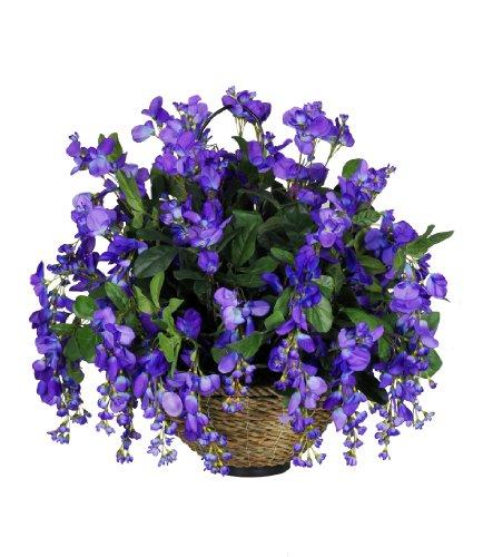 Artificial Dark Violet/Blue Wisteria Hanging Basket