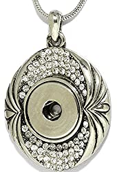 AnsonsImages Clear Rhinestone Oval Pendant Silver Tone Snap On Button Necklace Wedding Gift