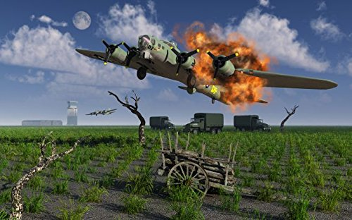 A damaged B-17 Flying Fortress attempting an emergency landing. 24 x 30 Poster