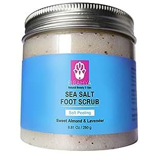 Elbahya Sea Salt Foot Scrub with Lavender and Sweet Almond Oil 8.81 Oz.