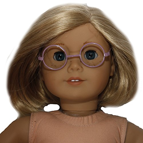 BUYS BY BELLA Round Purple Frame Glasses for 18 Inch Dolls Like American Girl - 1