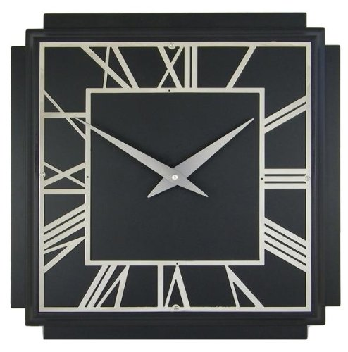 Roger Lascelles A Square Wooden Black Deco Wall Clock, 14.2-Inch