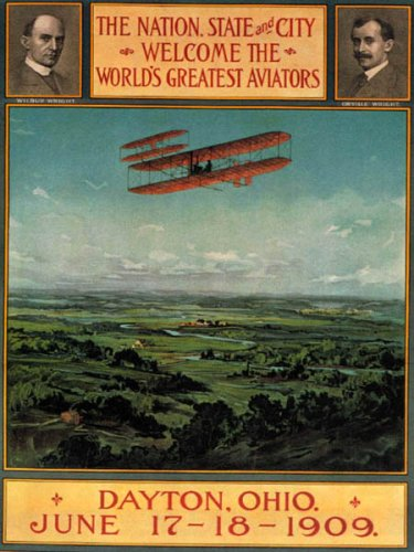 AIRPLANE WRIGHT BROTHERS WORLD'S GREATEST AVIATORS DAYTON OHIO 1909 VINTAGE POSTER REPRO (Dayton Brothers compare prices)