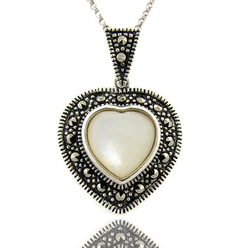 Sterling Silver Marcasite and Mother of Pearl Heart Necklace