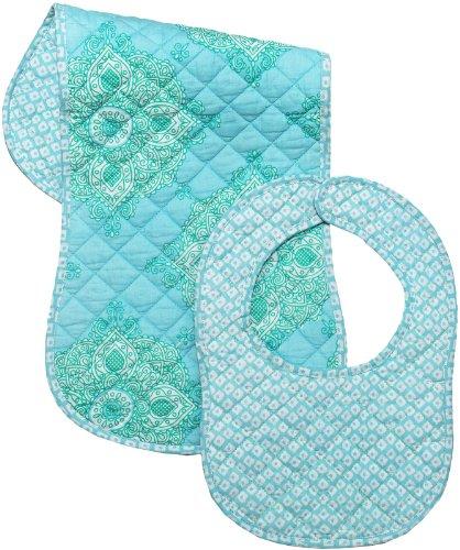 Masala Bib & Burp Set - Kolam Turquoise - 2 ct