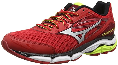 MizunoWave Inspire 12 - Scarpe Running uomo , Rosso (Red (Chinese Red/Silver/Safety Yellow)), 42.5