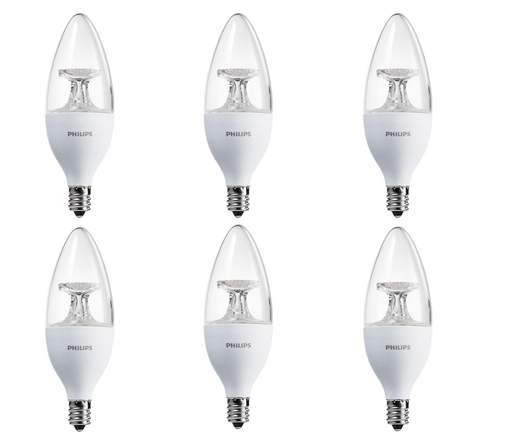 Philips 460212 40 Watt Candelabra Base 40 Watt Equivalent Soft White B13 Led Decorative Candle Light Bulb, Candelabra Base, Frustration Free 6 Pack