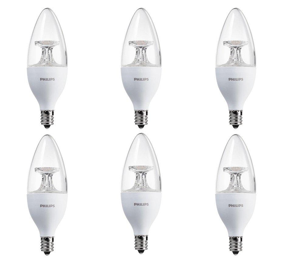 Philips 460212 40 Watt Candelabra Base 40 Watt Equivalent Soft White B13 Led Decorative Candle Light Bulb, Candelabra Base, Frustration Free 6 Pack