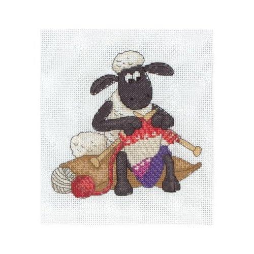 Shaun Knitting - Shaun the Sheep Cross Stitch Kit