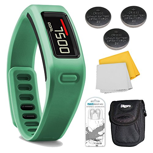 Vivofit Fitness Band Bundle With Heart Rate Monitor (Teal) Plus Deluxe Bundle. Bundle Includes Xtreme Audio Earbuds With Microphone, 3 Energizer 3 Volt Lithium Button Cell Watch Batteries, Deluxe Case, And Micro Fiber Cleaning Cloth.