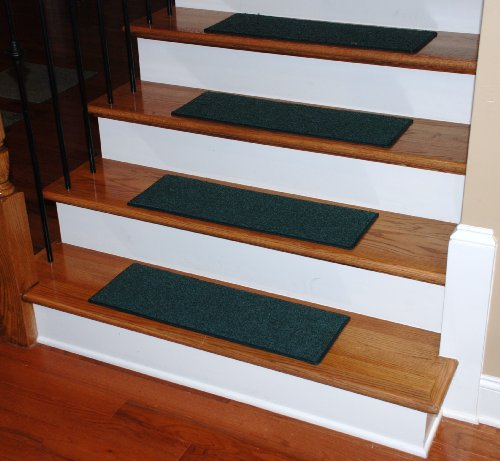 "Carpet Stair Treads 27"" x 9"" Hunter Green - Set of 13 - Double-Sided Tape Included"